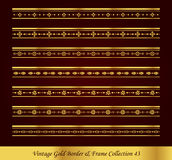 Vintage Gold Border Frame Vector Collection 43. Antique Golden retro abstract seamless pattern frame and border Royalty Free Stock Image
