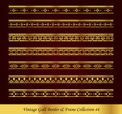 Vintage Gold Border Frame Vector Collection 44. Antique Golden retro abstract seamless pattern frame and border Royalty Free Stock Photography