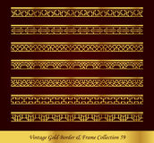 Vintage Gold Border Frame Vector Collection 59. Antique Golden retro abstract seamless pattern frame and border Royalty Free Stock Image