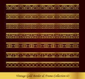 Vintage Gold Border Frame Vector Collection 63. Antique Golden retro abstract seamless pattern frame and border Royalty Free Stock Photos