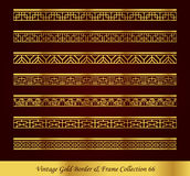 Vintage Gold Border Frame Vector Collection 66. Antique Golden retro abstract seamless pattern frame and border Stock Photography
