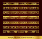 Vintage Gold Border Frame Vector Collection 67. Antique Golden retro abstract seamless pattern frame and border Stock Images