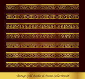 Vintage Gold Border Frame Vector Collection 68. Antique Golden retro abstract seamless pattern frame and border Royalty Free Stock Images