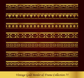 Vintage Gold Border Frame Vector Collection 75. Antique Golden retro abstract seamless pattern frame and border Royalty Free Stock Photo