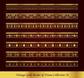 Vintage Gold Border Frame Vector Collection 76. Antique Golden retro abstract seamless pattern frame and border Stock Image