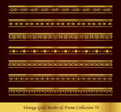 Vintage Gold Border Frame Vector Collection 78. Antique Golden retro abstract seamless pattern frame and border Royalty Free Stock Photography