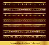 Vintage Gold Border Frame Vector Collection 80. Antique Golden retro abstract seamless pattern frame and border Royalty Free Stock Photos