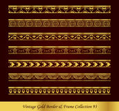 Vintage Gold Border Frame Vector Collection 93. Antique Golden retro abstract seamless pattern frame and border Royalty Free Stock Photo