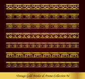 Vintage Gold Border Frame Vector Collection 94. Antique Golden retro abstract seamless pattern frame and border Royalty Free Stock Photo