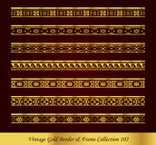 Vintage Gold Border Frame Vector Collection 102. Antique Golden retro abstract seamless pattern frame and border Stock Photos
