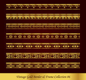 Vintage Gold Border Frame Vector Collection 86. Antique Golden retro abstract seamless pattern frame and border Royalty Free Stock Images
