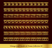 Vintage Gold Border Frame Vector Collection 92. Antique Golden retro abstract seamless pattern frame and border Royalty Free Stock Images