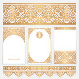 Vintage gold borders and frames on white. Vintage gold borders and frames in Arabic style, set of scroll embellishment on white Stock Photo