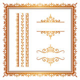 Vintage gold borders and frames on white Stock Photos