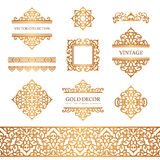 Vintage gold borders and frames on white Stock Image