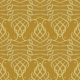 Vintage gold calligraphic 3d seamless pattern. Vector modern bac. Kground wallpaper. Elegance swirl lines, curves, abstract flowers. Line art tracery beautiful Stock Photography