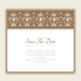 Vintage gold card with diamond jewelry border Stock Photos