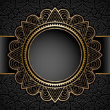 Vintage gold circle frame over pattern Stock Photography