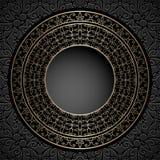 Vintage gold circle frame on  pattern Stock Images