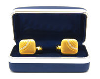 Vintage gold cufflinks with crystals in box isolated royalty free stock images