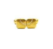 Vintage gold cufflinks with crystals isolated Stock Photography