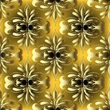 Vintage gold 3d Damask vector seamless pattern. Ornamental beautiful floral background. Elegance hand drawn golden flowers, leaves, dots. Line art tracery Royalty Free Stock Image