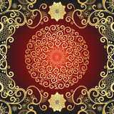Vintage gold and dark red frame. With gold decorative round lacy pattern, vector Stock Photo