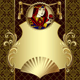 Vintage gold design template with playing cards character. Vintage gold design template in decorative frame with playing cards character in the round. There is Royalty Free Stock Photos