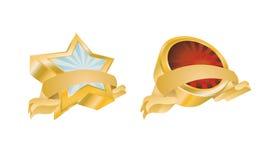 Vintage Gold Emblems. 3D Vintage Gold Emblems - Set 1 Stock Photos