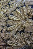 Vintage gold embroidery with floral pattern Stock Photo