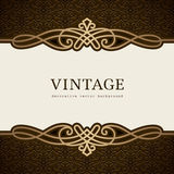 Vintage gold flourish background. Vintage gold background, divider, header, gold frame with vintage flourish border Stock Images