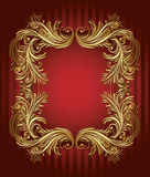 Vintage gold frame. Elegance vintage gold frame on red background Stock Image