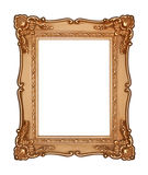 Vintage Gold Frame. Old gold frame with an antique design. Blank rectangle. Isolated on white Stock Photography