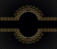 Vintage gold frame with bells. On a black background with a pattern Royalty Free Stock Photography