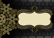 Vintage gold frame on a black background. With a pattern and a flower Stock Images