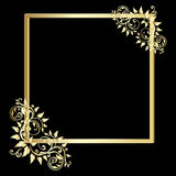 Vintage  gold frame on black background Stock Photos