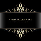Vintage gold frame. Vintage gold decoration on black background, divider, header, ornamental frame Stock Photography