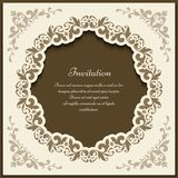 Vintage ornate frame, cutout card template. Vintage gold frame with floral corner patterns and round cutout border ornament, elegant packaging design, ornate Royalty Free Stock Image