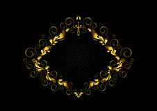 Vintage gold frame with floral pattern,curls and cross on black background Stock Images