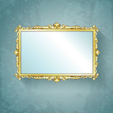 Vintage gold frame. Golden frame. Hand drawn  illustration Stock Image