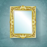 Vintage gold frame. Hand drawn  illustration Stock Photos
