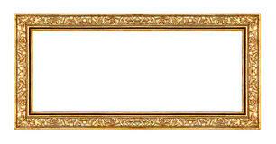 Vintage gold frame isolated on white background, with clipping path Royalty Free Stock Photo