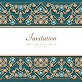 Vintage gold frame with jewelry border pattern stock illustration