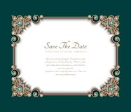 Vintage gold frame with jewelry corner patterns royalty free illustration