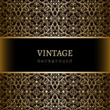 Vintage gold frame with lace borders Stock Images