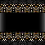 Vintage gold frame with lace borders Royalty Free Stock Photos