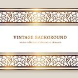 Vintage gold frame with ornamental borders. Vintage gold frame with ornamental border lines, filigree linear golden decoration Stock Images