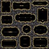 Vintage Gold Frames on Damask Background Royalty Free Stock Image