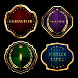 Vintage gold frames labels collection design elements. Royalty Free Stock Photography