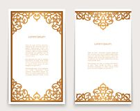 Vintage gold frames with ornate borders. Vintage gold rectangle frames with ornate borders on white, golden scroll embellishment, swirly decoration for greeting vector illustration